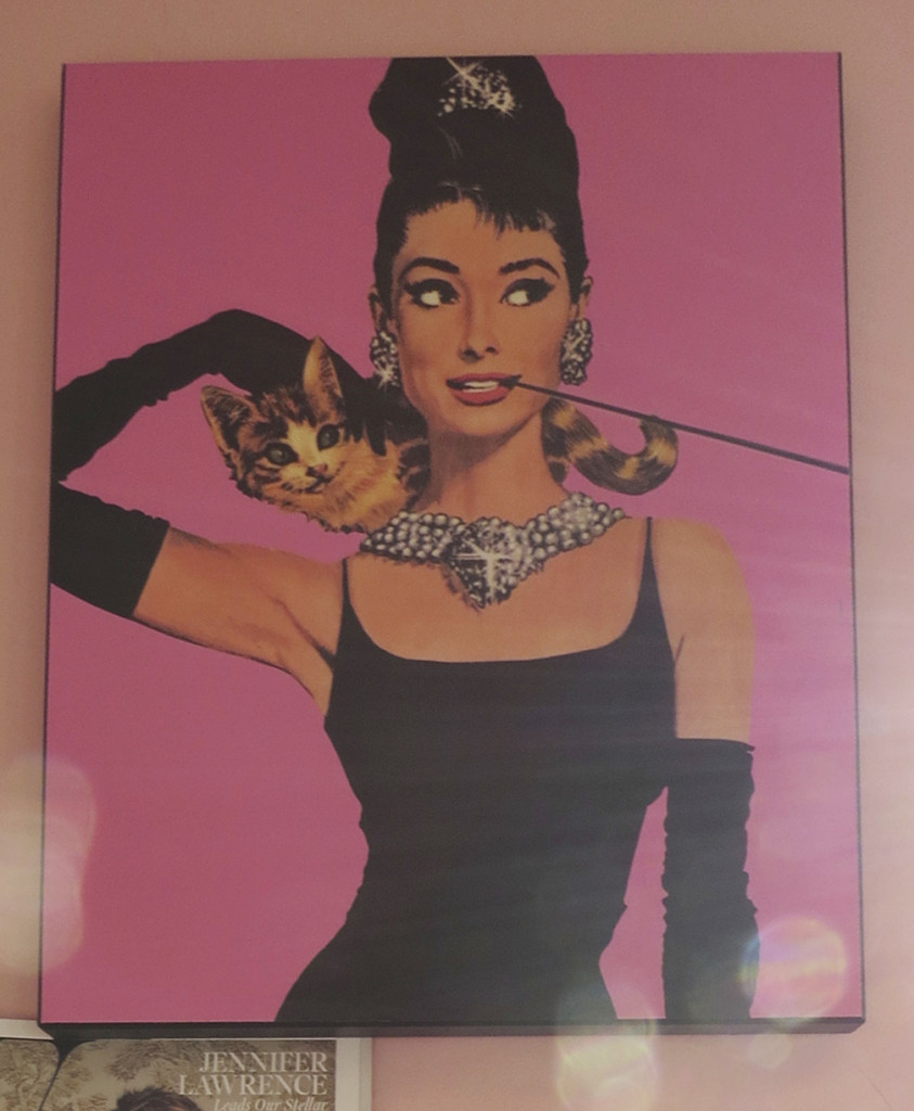 A poster of Audrey Hepburn from Breakfast at Tiffanys showing off her iconic look.