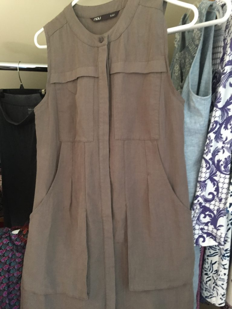 This maude, sleeveless shirt dress is a perfect option to pair with a cardigan and sweater to transition into autumn. This lovely dress can be found at Shift Eco. Boutique in Hyannis.