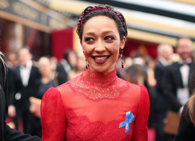 Ruth Negga for going bold with red, but the Valentino gown looks rumpled up top and the Victorian neckline feels too severe at the Oscars on February 26, 2017. (Christopher Polk/Getty Images)